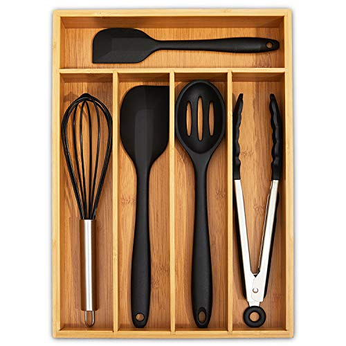 Ohwin Bamboo Drawer Organizers Kitchen Silverware Organizer with 5 Compartments, Flatware Drawer Organizer Tray - Bamboo Hardware Organizer Cutlery and Utensil Tray, Perfect for the Kitchen, Bathroom