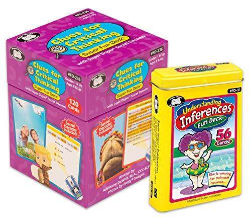 Super Duper Publications   Clues for Critical Thinking Secret Decoder Fun Deck   Understanding Inferences Flash Cards   Problem Solving and Reasoning Skills Bundle   Educational Learning Materials