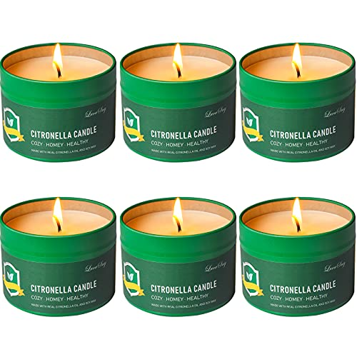 Citronella Candles Outdoor Indoor 4.4 OZ 6 Pack 168 Hours Outside for Party Hiking Camping Patio BBQ Deck Lanai Garden Yard Home Balcony