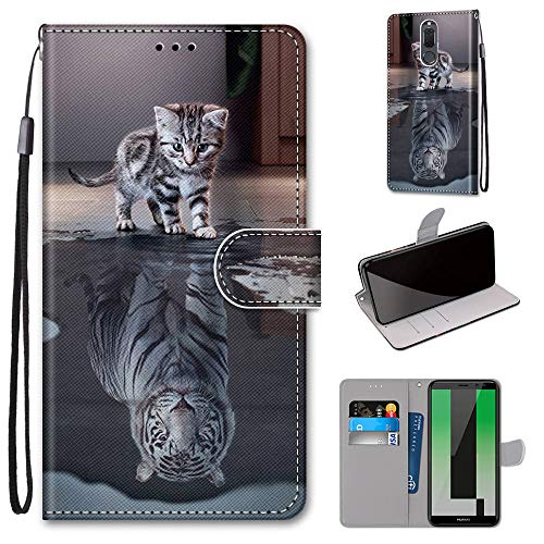 Miagon Flip PU Leder Schutzhülle für Huawei Mate 10 Lite,Bunt Muster Hülle Brieftasche Case Cover Ständer mit Kartenfächer Trageschlaufe,Katze Tiger