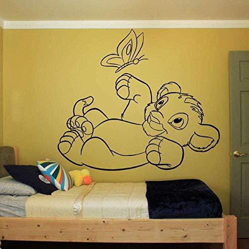 WJFQ Wandsticker Wandtattoo 3D wandaufkleber Wand wandbilder Lion könig Spielen Schmetterling niedlich 57x65cm dekorative Vinyl tapete abnehmbare Kinder Zimmer Wand dekor