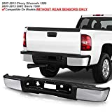 ACANII - For 2007-2013 Chevy silverado/GMC Sierrsa 1500 Chrome Steel Complete Rear Step Bumper w/o Sensor Holes Assembly