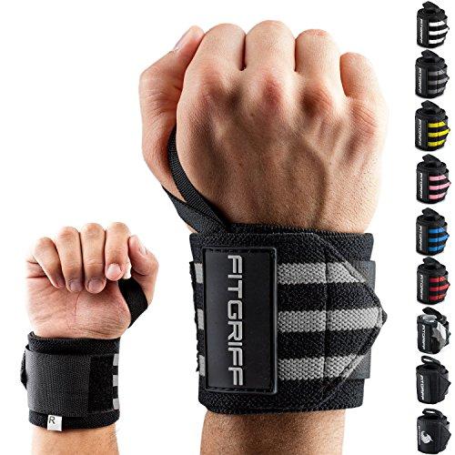 Fitgriff® Handgelenk Bandagen [Wrist Wraps] 45cm Handgelenkbandage für Fitness, Handgelenkstütze, Bodybuilding, Kraftsport & Crossfit (Schwarz/Grau)