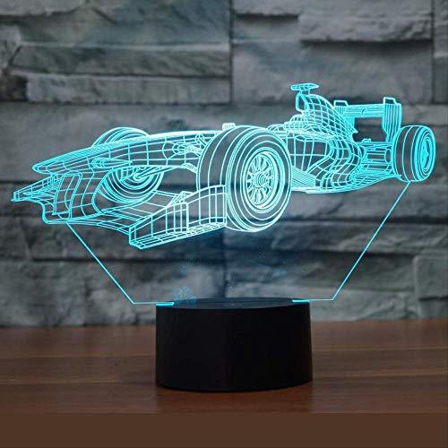 LWJZQT Nachtlampje 3D Racing Lights 7 kleurrijke afstandsbediening licht acryl USB 3D LED lamp powerbank LED nachtlampje