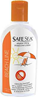 Safe Sea Anti Jellyfish Lotion, Non Toxic Highly Water Resistant- Jellyfish & Sea Lice LOTION ONLY with no SPF (4oz Bottle, Single Pack)
