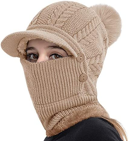 Women Winter Knit Baseball Cap Face Neck Gaiter Thermal Fleece Lining Skull Cap Circle Scarf product image