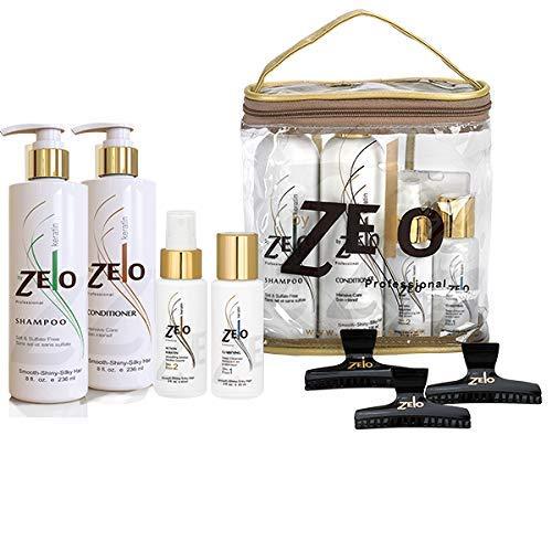 Zelo Brazilian Keratin Hair Kit   Sulfate Free Shampoo, Deep Cleanser Keratin, Smoothing Gel & Hair Clips   Eliminate Frizz & Volume   Soften & Straighten Hair
