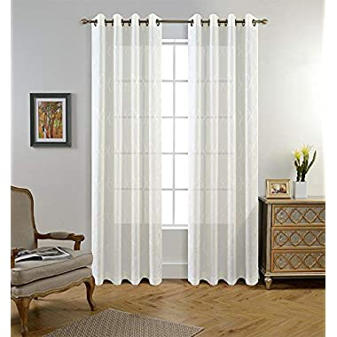 Miuco Moroccan Embroidered Semi Sheer Curtains Faux Linen Grommet Curtains for Girls Room 52 x 84 Inch Set of 2, Off White
