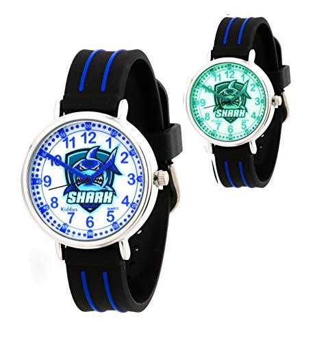 KIDDUS Lern Armbanduhr für Kinder, Jungen und Mädchen. Analoge Armbanduhr mit Zeitlernübungen. Zeit Lehrer. Time Teacher. Sharks. Fluoreszierend