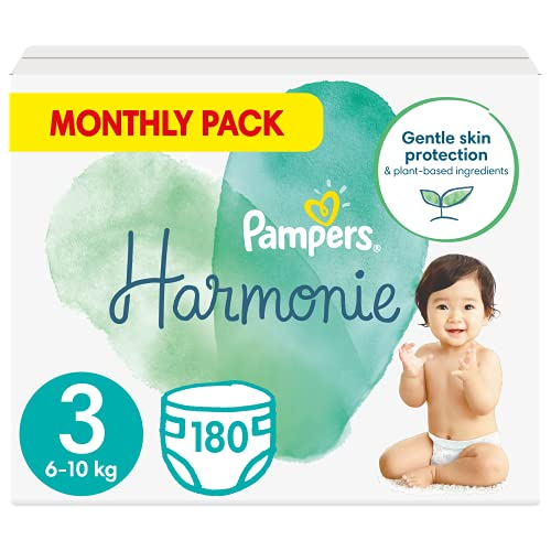 Pampers Maat 3 Harmonie Luiers, 180 Stuks, MAANDBOX, Beschermt de gevoelige babyhuid, Met plantaardige materialen (6 - 10 kg)