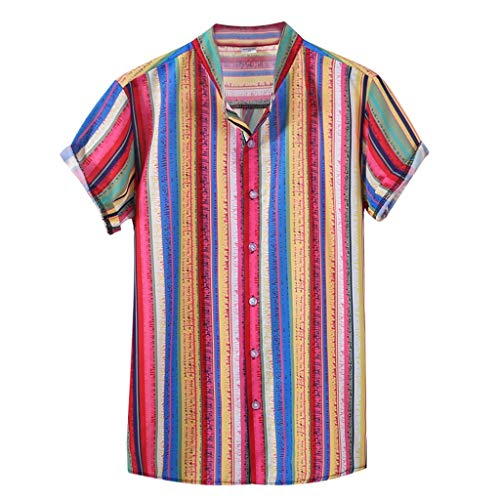 Andouy Herren Mode Mehrfarbig Vertikal Streifen Shirt Lose Knopf Kurzarm Hemden(4XL.Orange