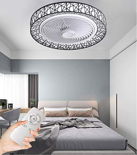 CDwxqBB Ventilatore da Soffitto LED Lampada da Soffitto Ventilatore, Dimmerabile E velocità del Vento, con Telecomando Silenzioso Lampadario Soggiorno Camera da Letto con Lampada Ventilatore,Nero