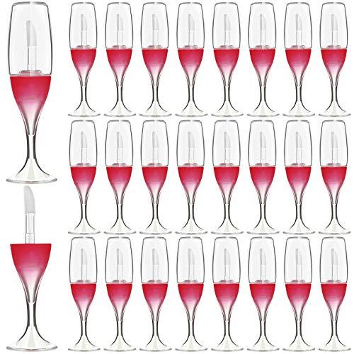 30 Piezas 8 ml Mini Tubos de Brillo de Labios Vacío en Forma de Copa de Vino Tinto Mini Botellas Recargables Envase de Esmalte de Labios Viales de Muestra y 5 Embudos para Muestras Maquillaje