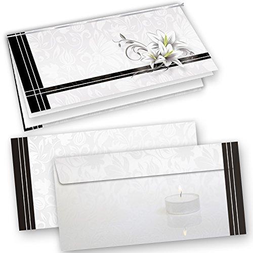 10 Sets Hochwertige Trauerkarten, Klappkarten inkl. Einlegeblätter bedruckbar, mit Umschläge
