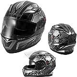Integralhelm Motorradhelm Rollerhelm Sonnenblende Helm ECE 22-05 Silber M