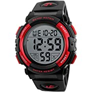 Men's Sports Watch with Classic Stopwatch Electronic LCD Backlight Military Time, 50M Waterproof Digital Watch for Mens Wristwatch with Large Dial and Number