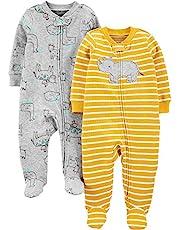 Simple Joys by Carter's Pies de algodón para Dormir y Jugar Bebé-Niños, Pack de 2