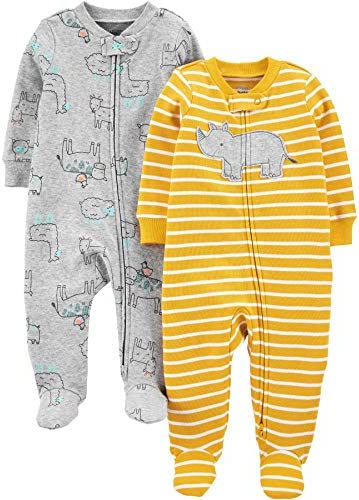 Simple Joys by Carter s Boys 2 Pack Cotton Footed Sleep and Play Yellow Rhino Animal Newborn product image