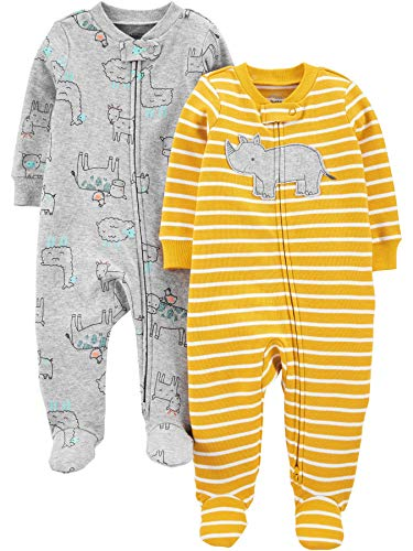 Simple Joys by Carter's 2-Pack Cotton Footed Sleep and Play Infant Toddler-Sleepers, Rhino/Animal Amarillo, Prematuro, Pack de 2