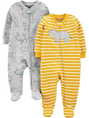 Simple Joys by Carter's 2er-Packung mit Fuß Zum Schlafen und Spielen Infant-and-Toddler-Sleepers, Gelber Nashorn/Tier, 0-3 Months
