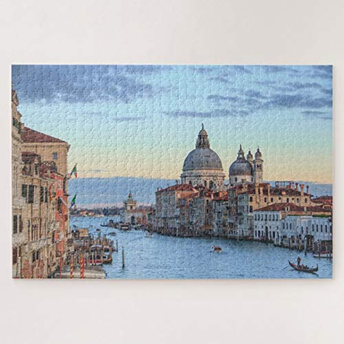 Jigsaw Puzzles 1000 Pieces For Adults Large Piece Puzzle Venice Veneto Italy Canal Dome Scenic Travel Photo Wooden Intellectual Jigsaw Puzzle Fun Challenging Family Game Toys Gift Wall Decoration