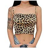 URIBAKY - Chaleco para mujer de encaje, estampado de leopardo, sexy, informal, sin mangas, strap amarillo XXL