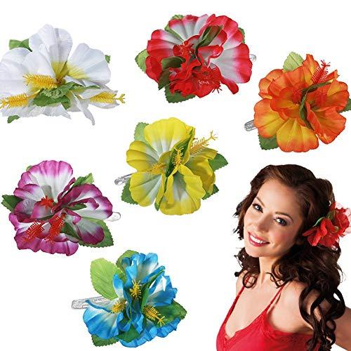 Gshy Haarspange, Blume, Hawaii, Haarspange, Blume, Hibiskus, Hawaii, für Damen, Mädchen, Hawaii, Zubehör, 8 Stück