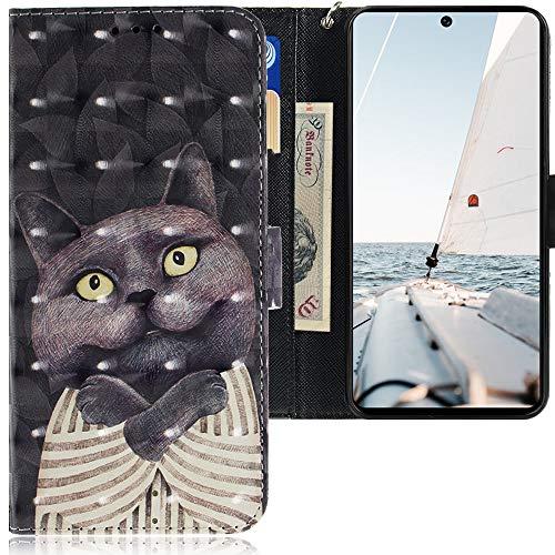 CLM-Tech Funda Compatible con Samsung Galaxy A71, Carcasa Cuero sintético con Función de Soporte y Ranuras para Tarjetas, Gato Pijama Negro