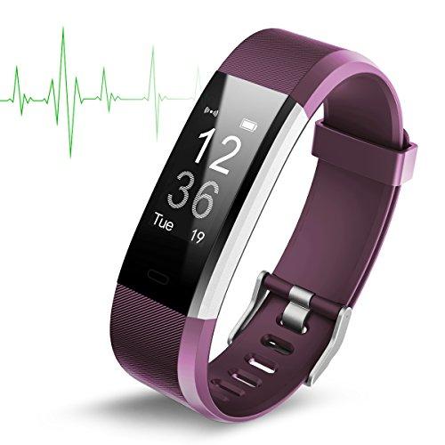 Bluetooth smartwatch fitness armbandhorloge, fitness tracker sport waterdicht stappenteller polshorloge slaaptracker voor iPhone 8/8 Plus / 7/7 plus / iPhone X, iPhone 6/6s Plus, Samsung Galaxy S9/S9 Plus / Sumsang S8/S8 Plus, S7/S7 Edge, Huawei P20/P10, Xiaomi mi a1/andere bluetooth smartphone (lila)