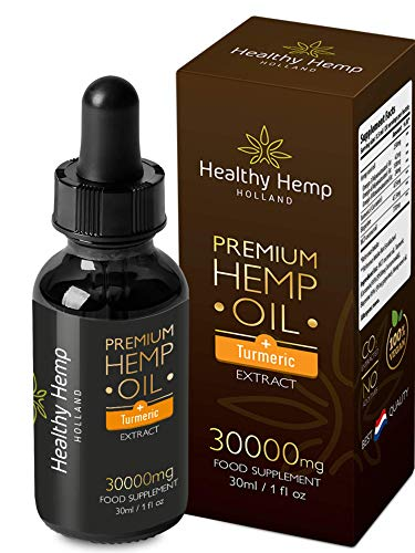 Healthy Hemp Holland – 30ml Hemp Oil Drops with Turmeric Extract – High Concentration Formula – 9500mg Curcuminoids and Bioperine , Natural Anti-Inflammatory
