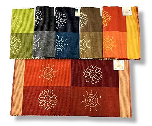 SpazioTessile Tappeto Stuoia Cucina Multiuso 100% Cotone Indiano Ricamo 6 Misure 6 Colori CH (Arancio, 55x230)