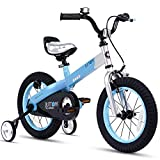 RoyalBaby Boys Girls Kids Bike 14 Inch Matte Button Bicycles with Training Wheels Child Bicycle Blue