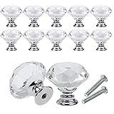 DAMO&GUYAN 10 Unids/Set 30mm Diseño de Forma de Diamante Perillas de Vidrio de Cristal, Armario Cajón Tirador Armario de Cocina Puerta Armario Manijas Herrajes,10 Piezas