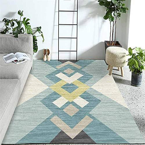 La Alfombra alfombras de habitacion Azul Gris Crema Simple Estilo geométrico Sala de niños decoración Alfombra alfobras de Salon alfombras Pelo Corto 60*120cm