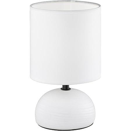 Reality, Lampe de table, Luci 1xE14, max.40,0 W Tissu, Blanc, Corps: Céramique, Blanc Ø:14,0cm, H:23,0cm IP20,Interrupteur de cordon
