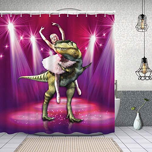 goodsaleA Duschvorhang,Ballerina Tanzen mit einem Dinosaurier unter Neon Stage Ungewöhnlicher absurder Bilddruck,Waschbar Shower Curtains Wasserdicht & mit 12 Ringe Bad Vorhang 180x180cm