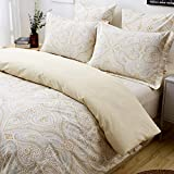 FADFAY Duvet Cover Set Paisley Bedding 100% Cotton Hypoallergenic Gold Classy Luxurious Bedding with Hidden Zipper Closure 3 Pieces, 1Duvet Cover & 2Pillowcases, King/Cal King Size