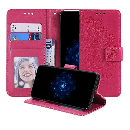 MEUPZZK LG V35 ThinQ Hülle, LG V30+ Wallet Hülle, 3D Totem Blumen geprägtes Premium PU Leder Kickstand Flip Cover Kartenhalter und Handschlaufe Wallet Schutzhülle für LG V30 (rot)