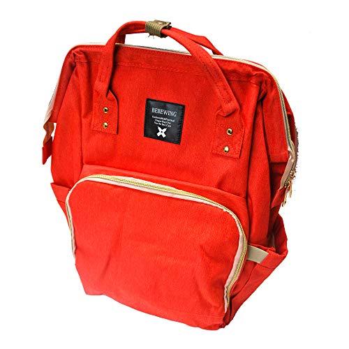 Bebewing Diaperbag-Rucksack, wasserabweisend, große Kapazität, stilvolle Geldbörse, Henkeldesign in verschiedenen Farben, Rot (rot), Einheitsgröße