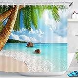 LB Tropische Insel Duschvorhang Strand 240x200cm Extra Breit Palmen Meer Bad Vorhang mit Haken Polyester Wasserdicht Antischimmel Badezimmer Gardinen