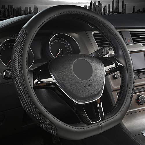 Sholer D Shape Steering Wheel Cover Compatible with Car Fit Diameter 14.5-15 inch Anti-Slip Lines,Durable Microfiber PU Leather Steering Wheel Cover Four Season Universal and Easy to Install (BLACK)
