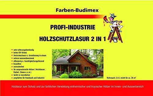 Farben-Budimex Profi Industrie Holzschutzlasur / Farbton Palisander / 5 L / Holzschutzlasur 2 in 1 , Grundierung u. Lasur in einem, Speziallasur v. Holzfachhandel mit hohem UV-Schutz