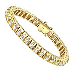 15 Carat Unique Diamond Tennis Bracelet for Men in 14k Gold 15ctw (Yellow Gold) Beautiful Gift Box is included Solid gold, authenticated with a stamp All items are shipped fully insured with a signature confirmation from NYC jewelry district. 30 Day ...