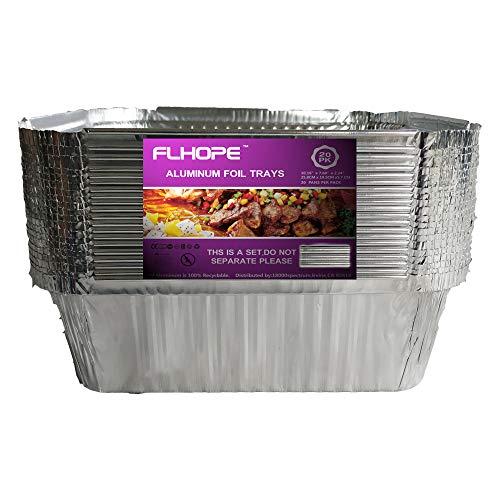 FLHOPE 20 Barquettes Jetables Aluminium, pour Cuisson Barbecue Griller Rôtir 25.8x19.5x5.7cm