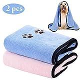 Legendog Hundehandtuch, 2 Stück Haustier Badetuch, Großer Weich Microfiber Schnelltrocknend Warm Haustierhandtuch mit badebürste für Hunde Katzen 35,43 * 19,68 Zoll