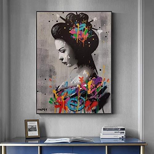 UIOLK Carteles e Impresiones artsticos de Graffiti de Mujer Japonesa en la Pared, Hermoso Disfraz de anciana, Imagen de Arte Callejero, decoracin de la Pared del hogar