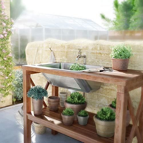 Lavabo para interior y exterior, satinado, incluye sifón y desagüe – lavabo, fregadero