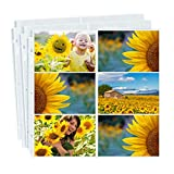 Dunwell Photo Album Refill Pages 12x12 - (4x6 Landscape, 100 Pack) Holds 1200 4x6 Photos, 4x6 Photo Sleeves for 3 Ring Binder, Post Bound Scrapbook Album 12x12,Archival Quality Page Protectors 12x12