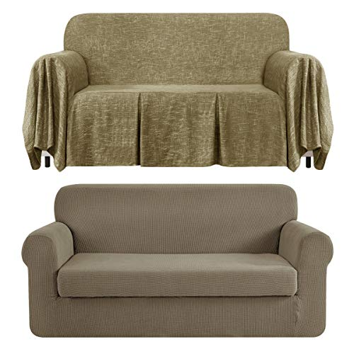 CHUN YI Stretch 2-Piece Loveseat Sofa Slipcover Bundles 1-Piece Medium Linen Sofa Throw Cover with Ruffle Design( Sand, Khaki)