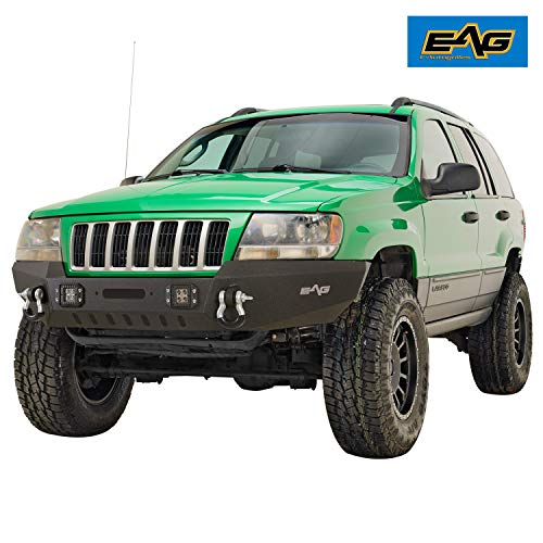 EAG Assembled Front Bumper with LED lights Compatible with 1999-2004 Grand Cherokee WJ